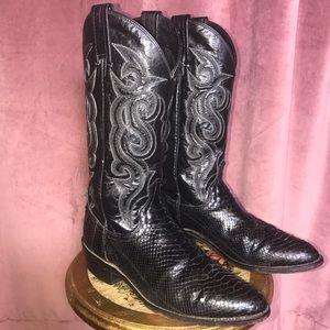 EUC!!! Men's Dan Post Black Python Cowboy Boots